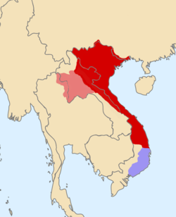 Đại Việt at its greatest extent under the reign of Emperor Lê Thánh Tông. Light area represents area briefly conquered from 1478–1480, blue area represents vassal Champa states.