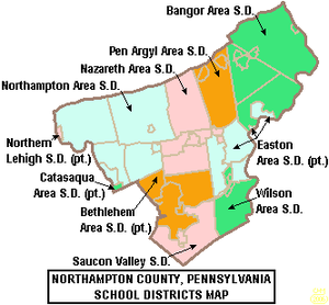 Map of Northampton County, Pennsylvania School Districts