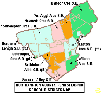 Northampton County, Pennsylvania - Map of Northampton County, Pennsylvania School Districts