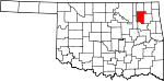 State map highlighting Rogers County