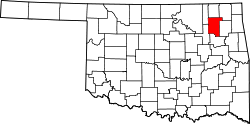 map of Oklahoma highlighting Rogers County