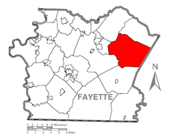 Location of Springfield Township in Fayette County