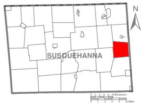 Ararat Township, Susquehanna County, Pennsylvania - Image: Map of Susquehanna County Pennsylvania highlighting Ararat Township