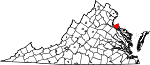 State map highlighting King George County