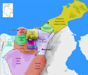 Government of Santa Marta - Indigenous territories in c. 1500.