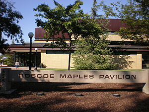 The Maples Pavilion sign outside the northwest...