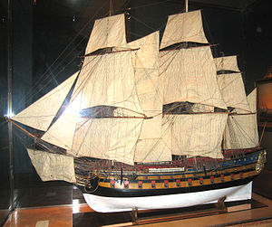 French ship Sphinx (1776) - Model of a 64 gun ship from the 1770s of the same type as the Sphinx.