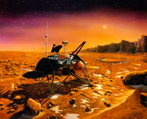 Artist's depiction of the Mars Polar Lander on Mars