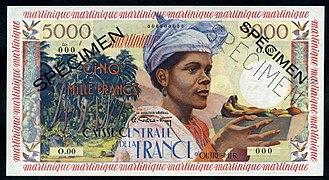 Martinique franc - Martinique 5000 Francs banknote of 1960
