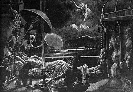 Maya's dream of the Birth of Gautama Siddhartha. Maya dream of the Birth of Gautama Siddharta.jpg