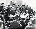 Mayor John F. Collins and Massachusetts Governor John A. Volpe with unidentified men at marathon finish, likely the Boston marathon (11191797893).jpg