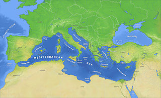 Mediterranean Sea Sea connected to the Atlantic Ocean between Europe, Africa and Asia