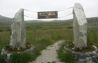Cape Nordkinn - Signpost at Mehamn Airport. The trail was opened by Crown Princess Mette-Marit in 2004 to promote tourism.