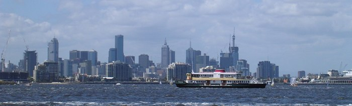 Melbourne skyline panorama from hobsons bay