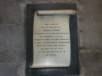 Domestic worker - Memorial valuing the work of Maria Home, servant in Warwick Castle (1834)