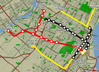 Red Line (Montreal Metro) - Montréal Métro 1961 project with line 3 in red and proposed extensions in yellow
