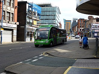 Greater Manchester bus route 2 - Optare Solo near Shudehill Interchange in August 2012
