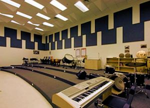 Miami Beach Senior High School - The Miami Beach Senior High school band room in Building 3 is home to the school's marching band.