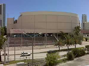 Miami Arena - Miami Arena being demolished, view from the west, taken September 24, 2008. The west wall was the last to fall, October 21, 2008.