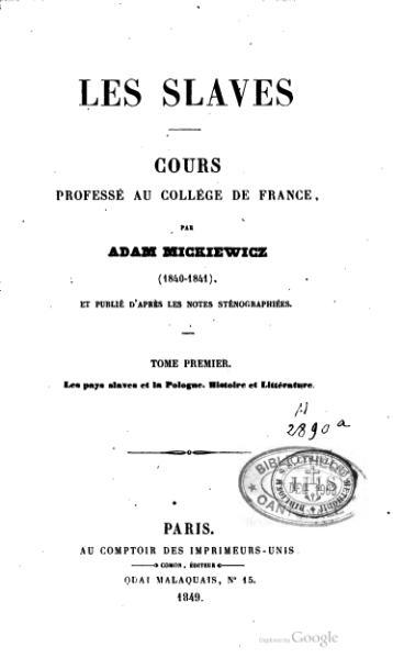 File:Mickiewicz - Les Slaves, tome 1.djvu