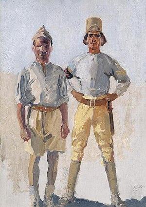 Thomas Cantrell Dugdale - Military Policemen in Palestine, (c.1918) (Art.IWM ART 6224)