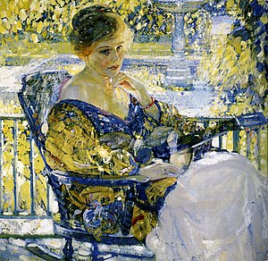 Decorative Impressionism - Richard E. Miller. Girl with a Guitar (Daydreams) (1916-17).