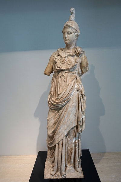 Archivo:Minerva, excavated from suburbs of Rome, Hellenistic period, c. 100 BC, gilt marble - Matsuoka Museum of Art - Tokyo, Japan - DSC06970.JPG