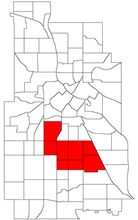 Location of Powderhorn within the U.S. city of Minneapolis