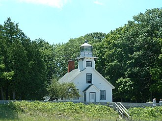 M-37 (Michigan highway) - The Mission Point Lighthouse at the northern end of M-37 on Old Mission Point