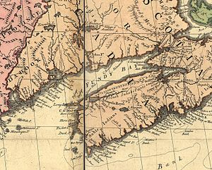 """Battle of Fort Cumberland - A section of the Mitchell Map showing some of the places in this action. Fort Lawrence is labeled """"Chignecto Engl Ft"""", and Windsor is labeled """"Fort Edward""""."""