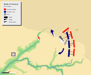 day 6 phase 3, showing khalid's cavalry routed Byzantine cavalry off the field and attacking Byzantine left center at its rear.