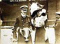 "Molly"" Brown presenting trophy to Captain Arthur Rostron for rescue of Titanic survivors (27899472435).jpg"
