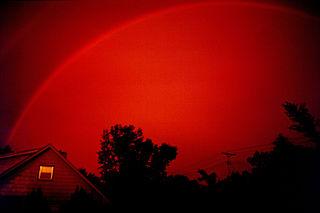 Monochrome rainbow optical and meteorological phenomenon