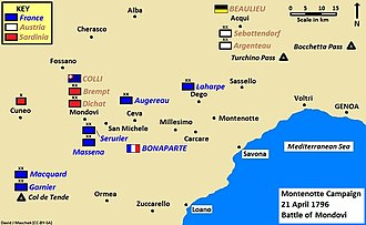 Interior lines - After the Battle of Mondovi, the French gained the advantage of having the interior position over their adversaries in the First Coalition.