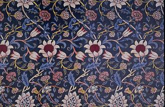 Textile printing - Evenlode block-printed fabric.