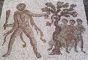 Hesperides - Detail of a third century AD Roman mosaic of the Labours of Hercules from Llíria, Spain showing Heracles stealing the golden apples from the Garden of the Hesperides