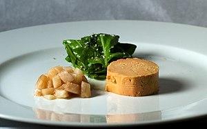 Poached moulard duck foie gras au torchon with...