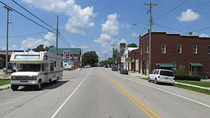 Looking west on Main Street (State Route 321) in Mowrystown, Ohio.