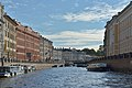 Moyka river in Saint Petersburg view south from Pevchesky bridge Nevski prospect.jpg