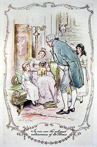 """Mansfield Park - The young Fanny and the """"well meant condescensions of Sir Thomas Bertram"""" on her arrival at Mansfield Park. A 1903 edition"""
