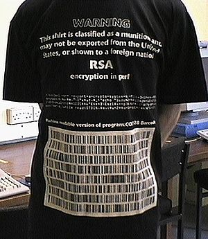 Export of cryptography from the United States - Image: Munitions T shirt (front)
