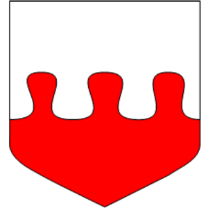 Line (heraldry) - Per fess nebuly argent and gules