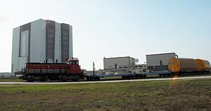 Industrial railway - Image: NASA Railroad cars in front of Vehicle Assembly Building