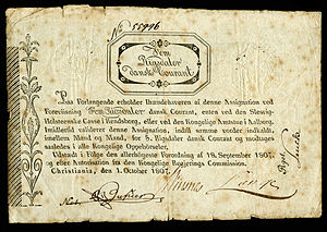 Five Rigsdaler Courant (1807), first year paper currency was re-introduced to Norway.