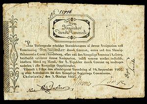 Norwegian rigsdaler - Image: NOR A7 Regerings Kommission 5 Rigsdaler (1807)