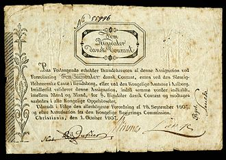 Oblique type - Unusual backslanted oblique lettering on a Norwegian banknote of 1807.