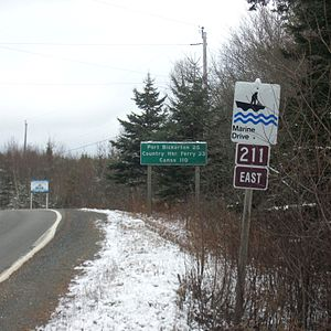 Nova Scotia Route 211 - Route sign in Stillwater, Guysborough County, Nova Scotia
