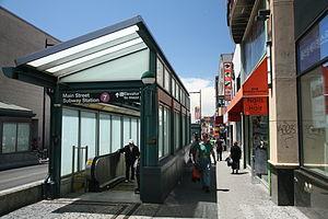 Flushing–Main Street (IRT Flushing Line) - One of the escalators in the eastern entrance