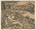 Naked woman (Leda) and swan (Zeus) embrace on a river bank; two figures jump into the water at middle ground; a town and bridge in the background. MET DP813980.jpg