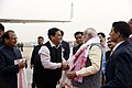 Narendra Modi being seen off by the Governor of Assam, Shri Jagdish Mukhi and the Chief Minister of Assam, Shri Sarbananda Sonowal, as he emplanes for New Delhi from Guwahati, after the visit to Mizoram and Meghalaya (1).jpg